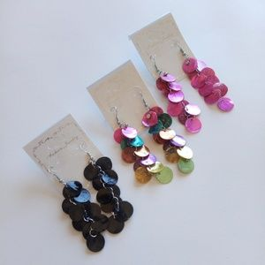 3 Pairs of Dyed Shell Dangle Earrings